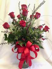 Elegant Dozen Long Stem Roses- Red Roses Valentines Day