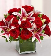 Elegant Embrace Red Rose and Lily Cube EF22