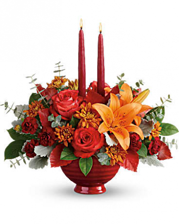 Elegant Fall Fall centerpiece in ceramic bowl
