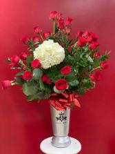 Elegant Tall Glass vase with 24 Roses Elegant Tall Glass Vase