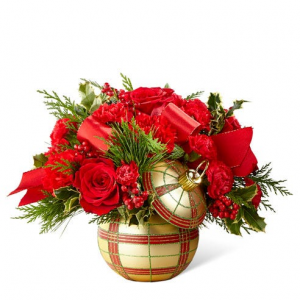 Elegant Gold Ornament Christmas Arrangement in Winnipeg, MB | CHARLESWOOD FLORISTS