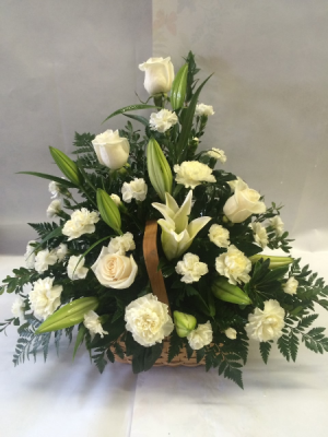 Elegant in White Floral Tribute in Red Lake, ON | FOREVER GREEN GIFT BOUTIQUE