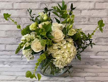 Elegant Ivory and Green Vase Arrangement