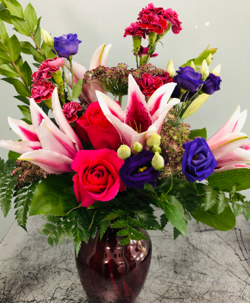 Elegant Jewel Tones fresh vase arrangement