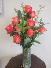 Elegant Orange One dozen orange roses with eucalyptus