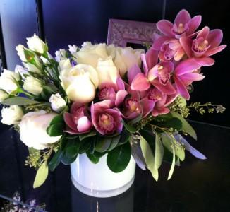 Elegant Orchids & Roses Vase