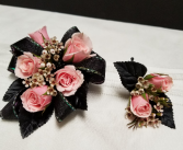 Elegant Pink Roses Wrist corsage and boutonniere