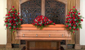 Elegant Rose Package Casket Spray and Two Matching Easels