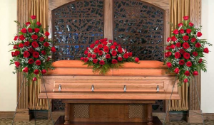 Elegant Rose Package Casket Spray and Two Matching Easels in Henderson, TX | RAYFORD FLORIST & GIFTS