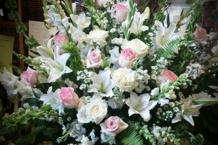 Elegant soft hue  funeral basket