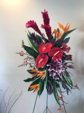 Elegant tropical arrangement   Standing easel Tropicals