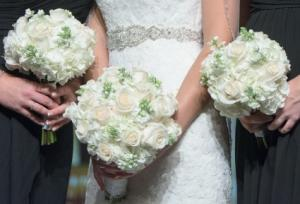 ELEGANT WHITE  (3) WEDDING BOUQUETS in Riverside, CA | Willow Branch Florist of Riverside