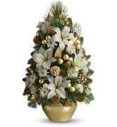 Elegant White Boxwood & Christmas Greens Tree Centerpiece Holiday Arrangement