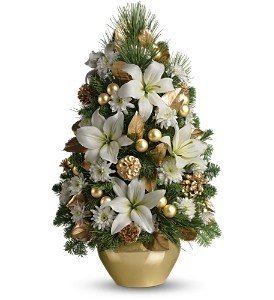 Elegant White Boxwood & Christmas Greens Tree Centerpiece Holiday ...