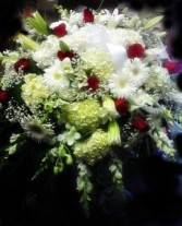 Elegant White Casket Spray With Red Roses