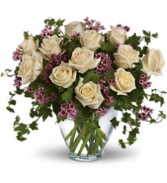 Elegant White Dozen Rose Arrangement