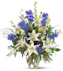 Elegant White Lilies And Blue Delphinium Flower Arrangement
