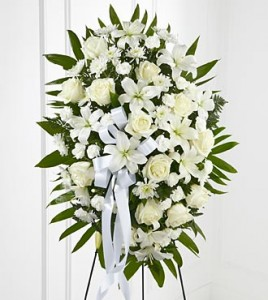 Elegant White Standing Spray White Roses, Lilies and Mums in Clearwater, FL | FLOWERAMA