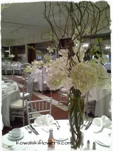 Elegant White Tall Reception Centerpieces