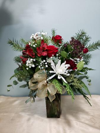 Elegant Winter Charm fresh vase arrangement