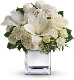 Elegantly White Silver Mirror Cube  in Oakdale, NY | POSH FLORAL DESIGNS INC.