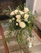 Elegant with White Flowers and Greens Loose and romantic bouquet
