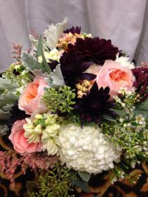 Elelgant graces bridal bouquet Peach, burgundy and  ivory bridal bouquet