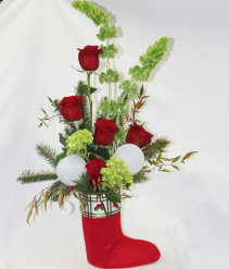 Elf Stocking Fresh Floral Design