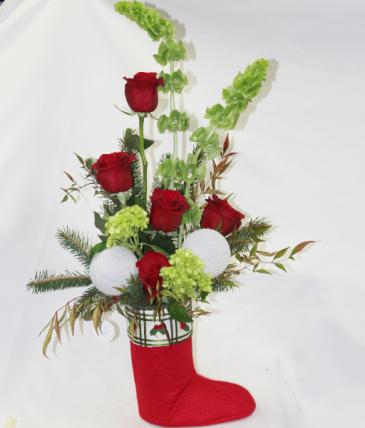Elf Stocking Fresh Floral Design