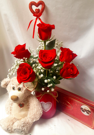 """""""BE MINE BOUQUET"""" 6 RED ROSES IN A HEART MASON JAR WITH CHOCOLATES AND MED. BEAR!! ALL OF THIS IS FOR $ 78.00!"""