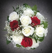Elegant Red and White Rose Bouquet Hand Tied Bouquet