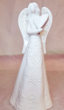 Embossed White Angel with Heart Gift