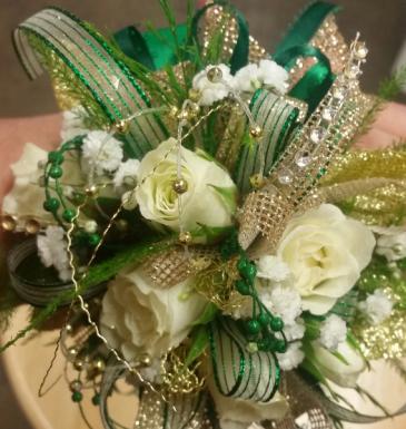 Emerald Sparkle Wrist Corsage
