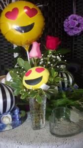 Emoji 2roses emoji balloon and a emoji