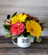 "Enamel mug arrangement ""Why Limit Happy...?"""