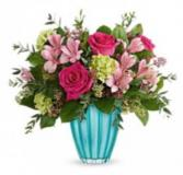 Enchanted Bouquet Fresh flowers in turquoise keepsake vase