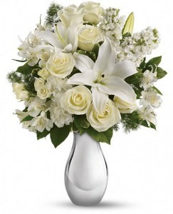 Enchanted Florist Shimmering White Bouquet  Keepsake Container