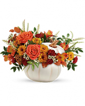 Enchanted Harvest Pumpkin fresh floral arrangement