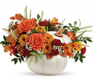 Enchanted Harvest Pumpkin Hand-glazed ceramic pot in Granville, NY | The Florist at Mandy's Spring
