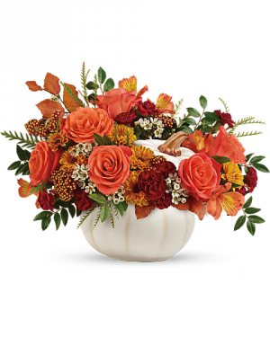 Enchanted Harvest White Pumpkin Centerpiece in White Oak, PA | Breitinger's Flowers