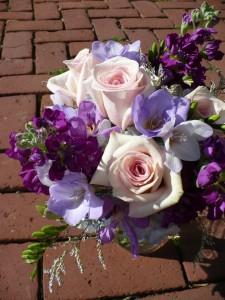 "Enchanted Purple  12"" high Roses, Fressia, Stock in Glass Vase in Mechanicsburg, PA   Garden Bouquet"