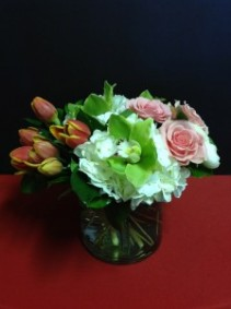 "Enchanted Spring   Orchids, Tulips, Roses and Hydrangea 11"" Tall"