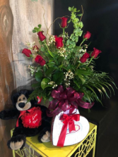 ENCHANTED VALENTINES ROSE SPECIAL 1 DZ LONG STEM ROSE'S - TEDDY BEAR - TRUFFLES