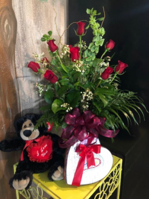 Enchanted Valentines Rose Special 1 Dz Long Stem Rose's - Teddy Bear - Truffles in Monument, CO | Enchanted Florist