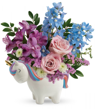 Enchanting Pastels Unicorn Bouquet All-Around Floral Arrangement