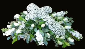 Endearing Casket Cross Spray in Plainview, TX | Kan Del's Floral, Candles & Gifts