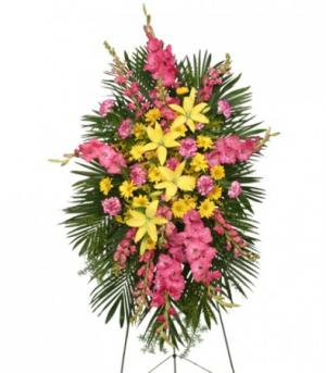 ENDURING LOVE STANDING SPRAY Funeral Flowers in Milton, FL | PURPLE TULIP FLORIST INC.