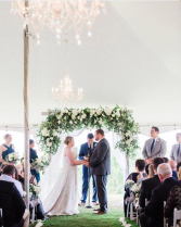 English Garden Arbor Arrangement Wedding Ceremony Flowers