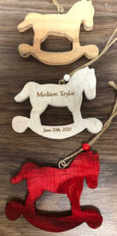 Engraved wooden rocking horse Wooden ornament