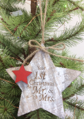 Engraved wooden star ornament Tree ornament